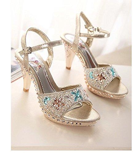 GS~LY Geschenk der Mutter Tages Sommer rauh mit hochhackigen Schuhe Silver