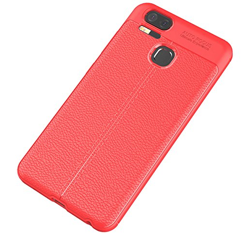 ASUS Zenfone 3 Zoom Hülle, Tianqin Ultra Licht Schock Beweis Case Schroffes Silikon dünner Schützender Abdeckungs Carbon Faser Kasten Cover für ASUS Zenfone 3 Zoom Schutzhülle - Rot