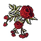 #9: Segolike Rose Flower Embroidered Floral Trim Fabric Iron on Sew on Clothes Applique Patch Embellishment 19x17cm
