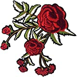 Segolike Rose Flower Embroidered Floral Trim Fabric Iron on Sew on Clothes Applique Patch Embellishment 19x17cm