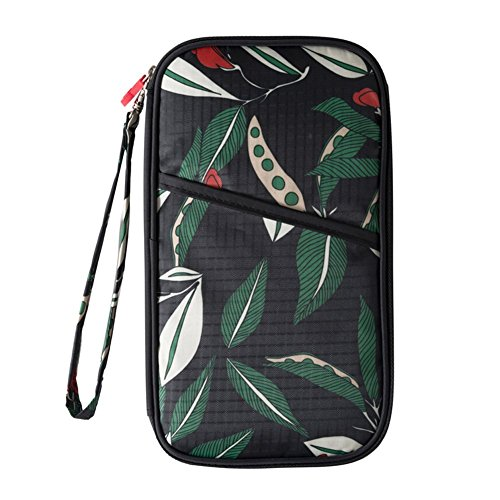 Multifunktions-Reise-Pass-Halter-Wallet-Dokumente Organizer-Kreditkarten-Tasche mit abnehmbarem Armband-Armband (Schwarze Blume) (Reise-halter Pass)