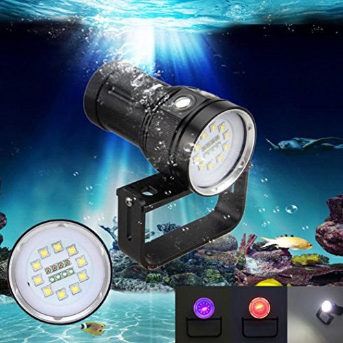 immersione torcia Power in ghisa, 12000lm subacquea Professional 100m impermeabile Submarine Luce Torcia, 10XM-L2LED + 4LED rosso + 4Blu LED torcia