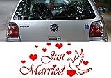 Z453 'Just Married' - Hochzeit Autoaufkleber Spruch Sprüche lustig Heckscheibe Motorhaube Tattoo tuning (58x27cm) silbergrau-metallic
