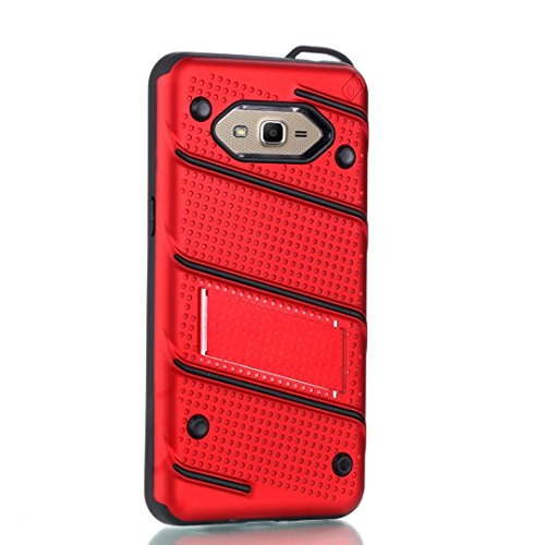 EKINHUI Case Cover Ultra Thin Slim Dual Layer PC + Soft TPU Back Schutzhülle Case [Shockproof] mit Kickstand für Samsung Galaxy G530 ( Color : Rosegold ) Red