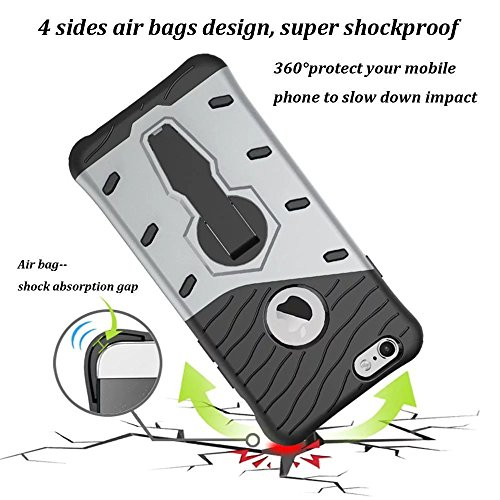 iPhone 6S Plus Case, Kickstand Hybrid Dual Layer Hard Cover + Soft Silikon Shockproof Drop Proof Rugged High Impact Protective Case Cover for iPhone 6S Plus/6PLUS–Black silberfarben