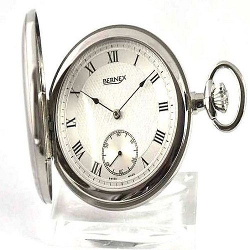 Bernex Swiss Made Mechanical Rhodium Plate Full Hunter Pocket Watch