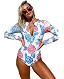 Damen Bademode Rash Guard UV-Schutz Reißverschluss Gepolsterte Einteilige Badeanzug Surf Shirt Badeshirt