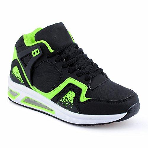 Herren Damen Sportschuhe High Top Sneaker Mehrfarbig Basketball Freizeit Unisex Schuhe Schwarz/Grün-W