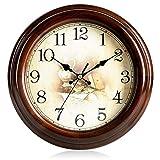 @Reloj de Pared Relojes de pared Funciona con batería Sin hacer tictac Decoración decorativa de la sala de estar Dormitorio Sencillo reloj de cuarzo rústico Madera maciza Reloj de pared analógico