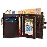 Wemk Geldbörse Herren Echt Leder im Hochformat mit Doppelter RFID/NFC Schutz Portmonee mit Vielen Kartenfächer und Münzfach Reißverschluss - Braun