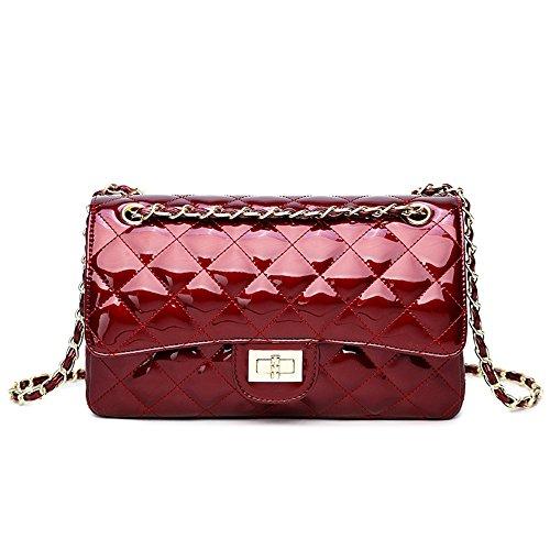 GMYANDJB Umhängetasche Geldbörse Messenger Bags Hohe Qualität Pu-Leder Damen Handtaschen Gesteppte Klappe Taschen Weibliche Totes Frauen Umhängetaschen - Burgundy L -