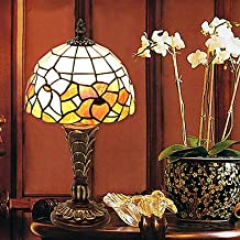 kai Tradicional Resina Pequeña lámpara de mesa de cristal del patrón de flor Shade Tiffany