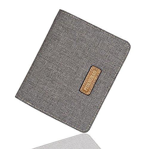 iVotre Leinwand Brieftasche Ultra Slim Kurze Casual Stil Multi - Card Slots Bild Inhaber Mode Solide Bifold Handtasche Für Studenten, Männer, Männer - Grau grey