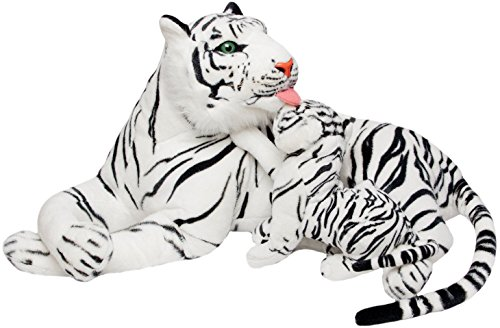 BRUBAKER Tigre di peluche con cucciolo - colore bianco 1 metri