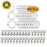 Schlüsselanhänger-Ringe aus Metall mit Drehgelenk, 60 Stück