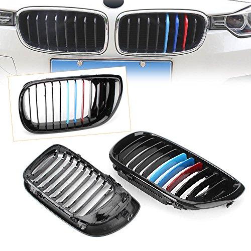 GZYF schwarz glänzend vorne Nieren Kühlergrill Grill für BMW E46 Touring, E46 Limousine 4-türer 2002-2006 Facelift (2003 Mustang-motor)
