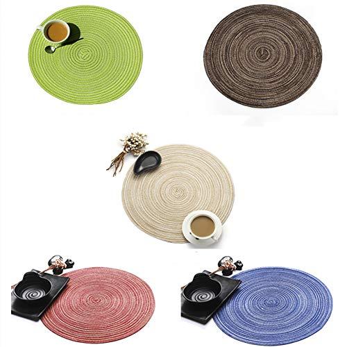 APCHY Rundes Baumwollgarn Tischset Volltonfarbe rutschfest Anti-Verbrühend Woven Tischset Schutztafel Isolierung Anti-Rutsch Leicht zu Reinigen 15 Zoll (5 Stück) (Weihnachten-kunststoff Deckt Tisch)