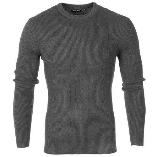 mens-brave-soul-knitted-stretch-cotton-jumper-crew-neck-sweater-ribbed-top-size-charcoal-grey-m