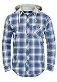 Redefined Rebel Meier Herren Freizeithemd Flanellhemd Hemd mit Karomuster und Sweat-Kapuze aus 100% Baumwolle, Größe:M, Farbe:True Navy