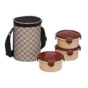 Ruchi Super Lock & Seal Vertical Tiffin Set with Bag, Maroon