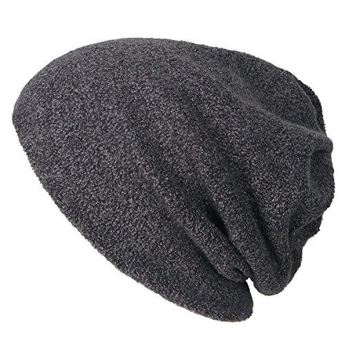 ililily Solid Farbe kurze Pile künstliches Pelz Beanie Cap Schädel Hut Ausschnitt Haarnetz , Dark Brown (Brown Dark Faux-pelz -)