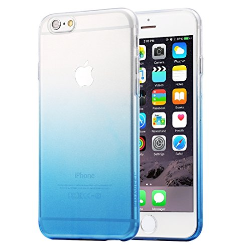 Phone case & Hülle Ultra Slim Gradient Farbe Clear Soft TPU Tasche für iPhone 6 Plus & 6s Plus ( Color : Pink ) Blue