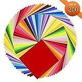 Origami Papier, Meiso Superior doppelseitig 200 Blatt 50 Vivid Farben Platz DIY Falten Origami Papier Kran für Kunsthandwerk Projekte [6 x 6 Zoll]