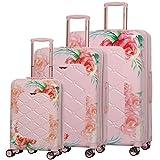 Aerolite Set de 3 Valises Rigides à 4 roulettes Polycarbonate, 55cm Bagage Cabine + 69cm + 79cm, Floral Rose