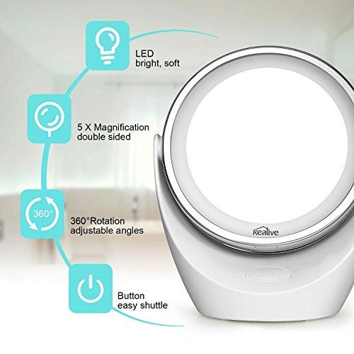 % Kealive Specchio per Trucco Double Face Specchio Cosmetico Illuminato con Luci LED Ingradimento 1X / 5X 360° Girevole per Trucco, Camera da Letto, Rasatura e Viaggio (M2) lista dei prezzi