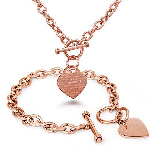 Rose Vergoldet Edelstahl Love Never Fails (Liebe fällt nie aus) 1. Korinther 13: 6-8 1 Corinthians 13: 6-8 Gravierte Herz Charme, Armband Halskette Set