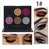 Rwhere Professionelle Glitzer Lidschatten Makeup Set - Langlebige Lidschatten Palette - Schminke Gesicht Pigmente Powder Makeup Kit (6 Farben) (Farben1)