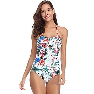 Hawiton Donne Set Bikini Floreale per Estate, Costumi da Bagno Un Pezzo di V Profondo con Schiena Scollata Push-up… 18 spesavip