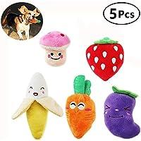Kui Ji Juguetes para Perros Pequeños Squeaky, Frutas y Verduras, Peluche, Cachorro, Perro (Paquete de 5)