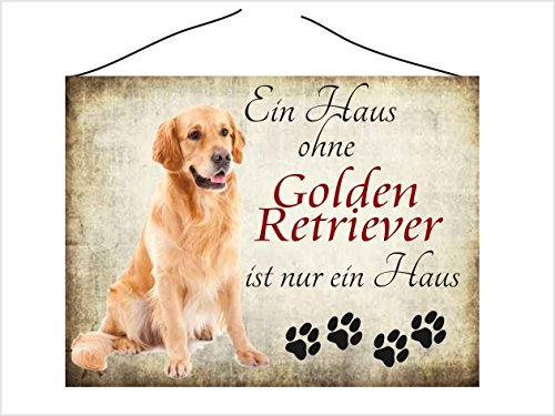"""Türschild Vintage Schild kratzfest Dekoschild Hundedeko Wandschild Nostalgie Holzschild Geschenk - """"Golden Retriever"""""""