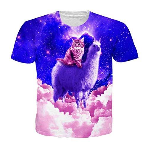 HhGold Gato Gatito Camiseta 3D Unisex Pizza Kitty Galaxy Camisetas Top de Verano Camiseta (Color : Kitten T Shirt, tamaño : Medium)