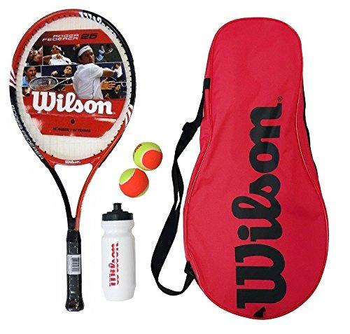 Wilson Kinder Tennisschläger Roger Federer Starter Set, schwarz/rot