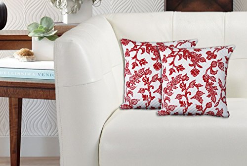 Avira Home 100% Cotton Matalesse Printed Cushion Cover- Set of 2-Red & White
