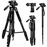 "Portable Tripod,K&F Concept 70""/177cm Travel Tripod Outdoor Compact Aluminum Video Camera Tripod Monopod"