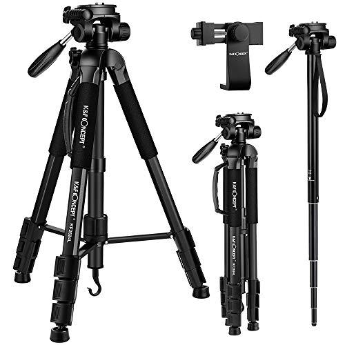K&F Concept 177cm Leichtes Stativ Kamerastativ mit Handy Halterung und Einbeinstativ, Stativ aus Aluminium mit 3-Wege-Schwenkkopf für Smartphone DSLR SRL Canon Nikon Sony Olympus