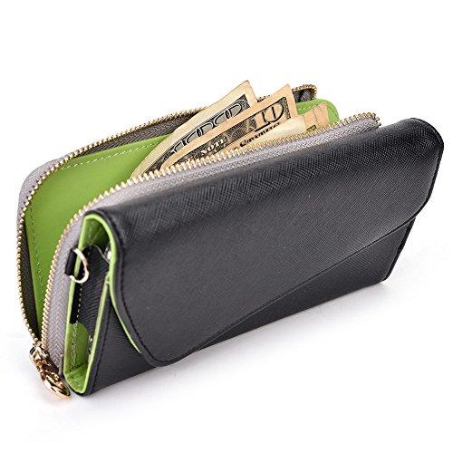 Kroo d'embrayage portefeuille avec dragonne et sangle bandoulière pour Samsung Galaxy S6Edge Black and Green Noir/gris