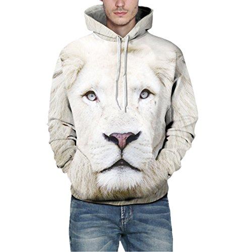 AiJump 3D Weißer Löwe Druck Muster Kapuzenpullover Herren Damen Unisex Paare Sportbekleidung Streetwear Hoodie Sweatjacke mit Kapuzen (Machen Damen Kostüm Löwe)