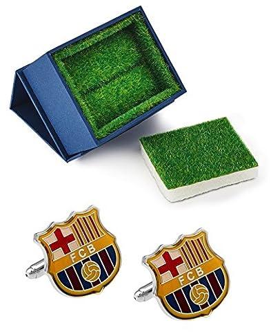 Barcelona Futbol Club Logo Manschettenknöpfe mit Gras wie Geschenk-Box–Soccer Fußball (Manchester Zu Weihnachten)