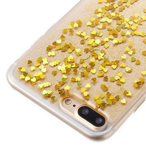 Coque iPhone 7 Plus ,Coque iPhone 8 Plus, Camiter rosé Dégradé Protection Dorsale Etui Slim Housse Cover Premium TPU Case Pour Apple iPhone 7 Plus /iPhone 8 Plus + Chiffon de nettoyage gratuit cœur Or