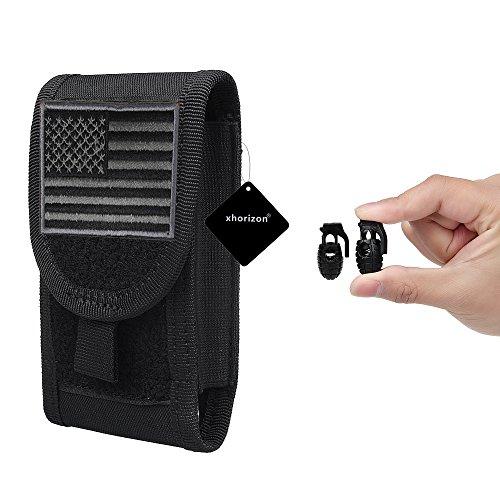 xhorizon TM MSH Armée Camo Sac Mobile Universel de téléphone portable Organiseur accessoires Housse Etui Coque Cover Case Sacoche de ceinture pour iPhone Samsung tactique MOLLE avec drapeau USA #B