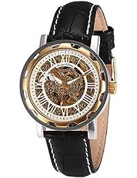 KS KS081 - Reloj Mecánico Hombre, Correa de Cuero Negro