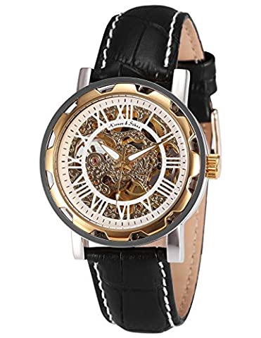 KS Skeleton Automatic Mechanical White Dial Black Leather Band Sport
