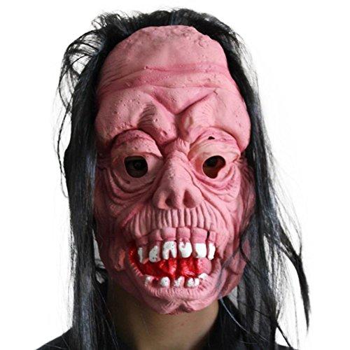 (Topdo 1x Halloween Party Halloween-Maske Halloween Geschenk Terror Devil Latex Kopfbedeckung Maske mit Erschreckend Maske Rosa)