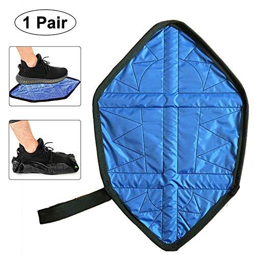 Aolvo [Upgraded 2/Paar FREIHÄNDIGER Boot-Schuh, Schritt in Socke Automatische Überschuhe Wasserfest und Wiederverwendbar Schuh abdeckt, mit Gurt, Lazy für Sneaker und Stiefel Blau