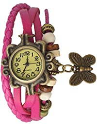 Goldenize Fashion New Arrival Special Collection Butterfly Dori Festive Season Special Analog Dial Pink Leather...