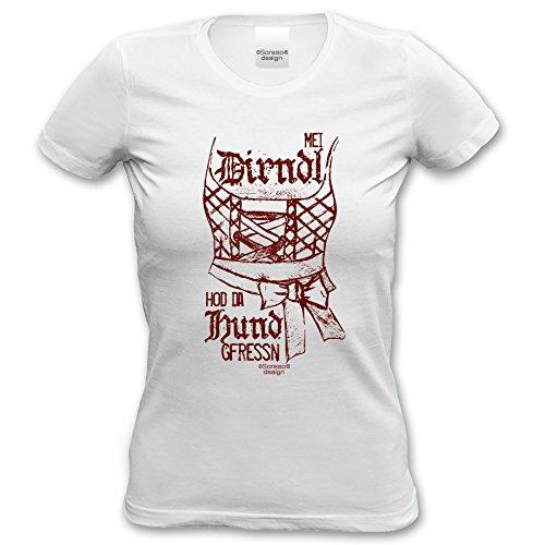 Mei Dirndl hod da Hund gfressn - Lustiges Damen-Mädchen-Girlie-T-Shirt Oktoberfest-Volksfest-Party-Bekleidung Trachtenshirt Farbe: weiss Weiß